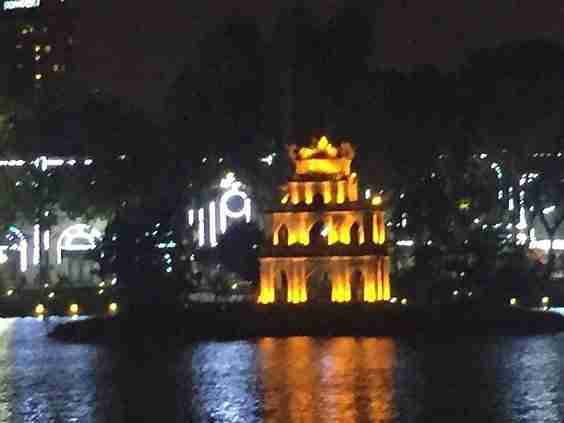 Turtle Tower in Hanoi at night