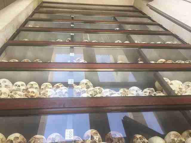 Memorial tower Stupa levels of human skulls