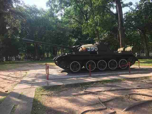 Replica of the Tank of the North Vietnamese Army bulldozed through the main gate, ending the Vietnam War.