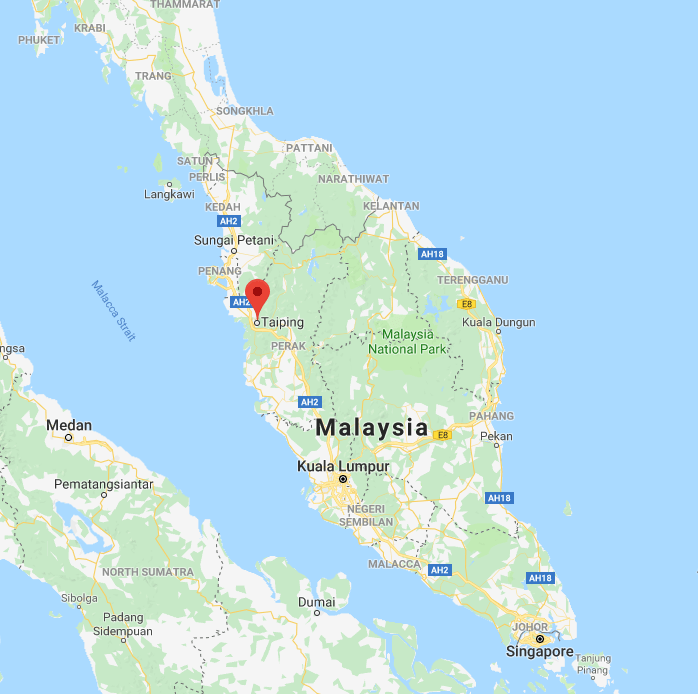 Location of Taiping Malaysia on the map