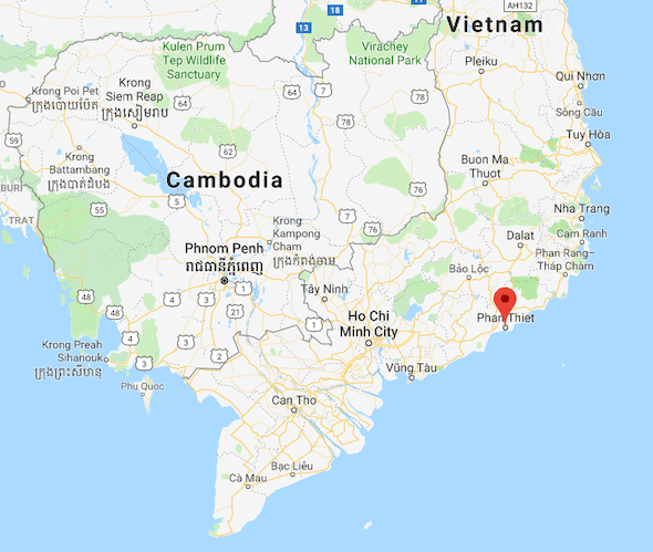Map Shown The Location of Phan Thiet Vietnam