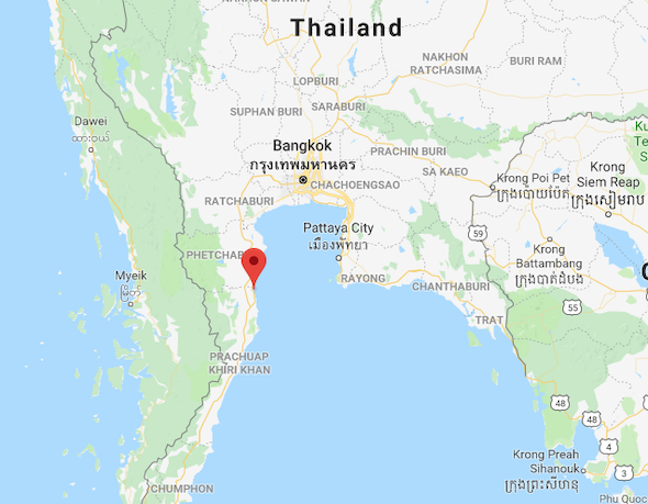 Map Shown The Location of Hua Hin
