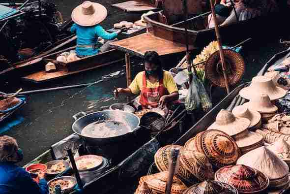 boat in floating market